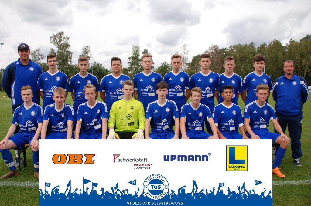 B-Jugend Viktoria Rietberg 2018-2019 mit Sponsoren